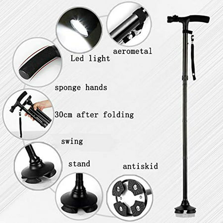 Magic Cane Folding LED Safety Walking Stick 4 Head Pivoting Trusty Base Black - Brass Cane Heads