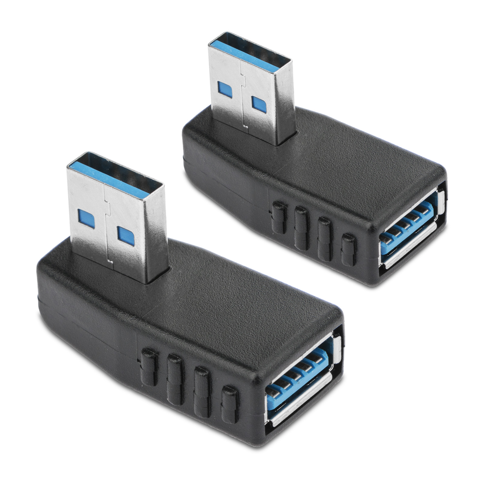 TSV 2-Pack 90 Degree Left Angle USB 3.0 A male to female Adapter Connector Extension Extender
