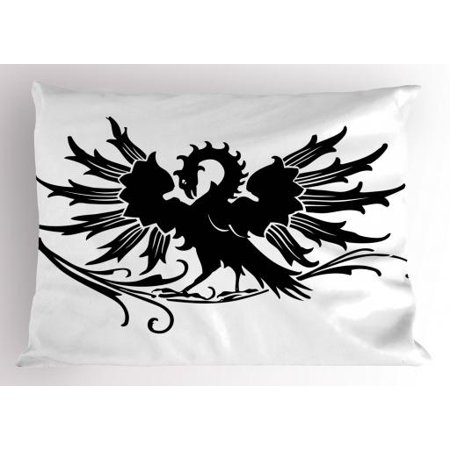 - Celtic Pillow Sham Abstract Fantasy Animal Medieval Eagle Symbol for Culture and Tattoo Design, Decorative Standard Size Printed Pillowcase, 26 X 20 Inches, Black and White, by Ambesonne
