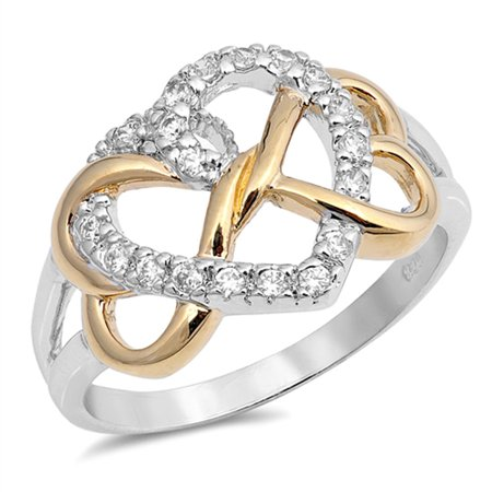 - Gold-Tone Infinity Knot Heart White CZ Promise Sterling Silver Ring ( Sizes 5 6 7 ) Rings by Sac Silver (Size 7)