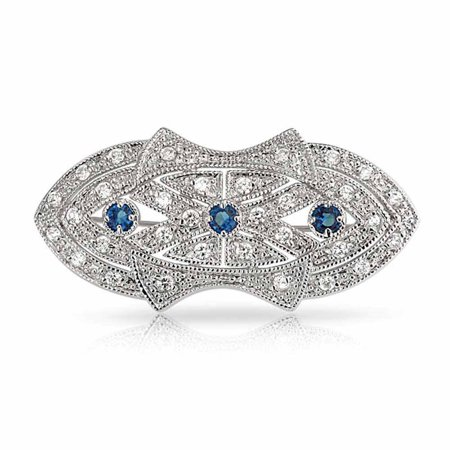 Art Deco Style Scarf Pin Brooch For Women Blue Clear CZ Simulated Sapphire Silver Plated Brass Butterfly Cubic Zirconia Brooch