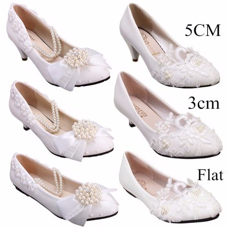 Angelina Bridal Shoes - Womens Heel White Flower Lace Crystal Wedding Shoes Prom Bridal Bridesmaid Flat High Low Heels shoes