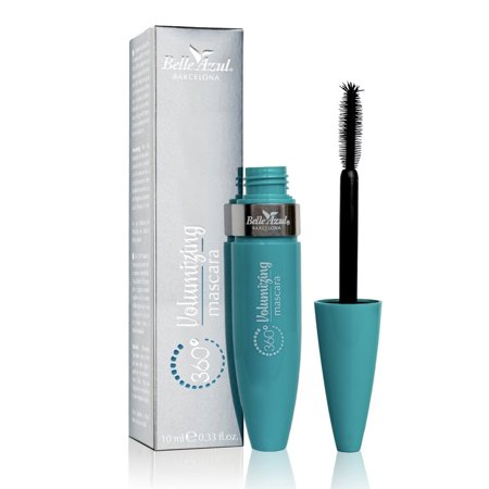 Belle Azul 360 Volumizing Long Lasting Smudge Proof Mascara, Black