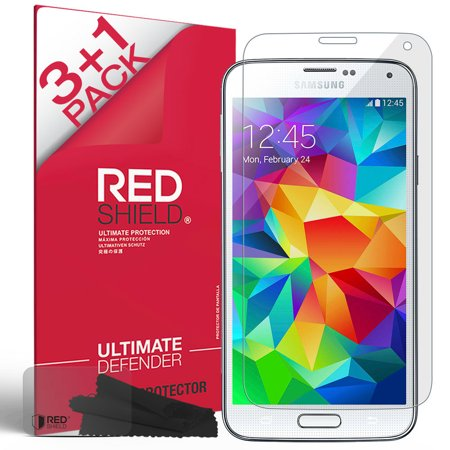 Galaxy S5 Screen Protector, REDShield (3 Pack+1 Free) [Crystal Clear] High Definition Precision-Cut Screen Protector for Samsung Galaxy