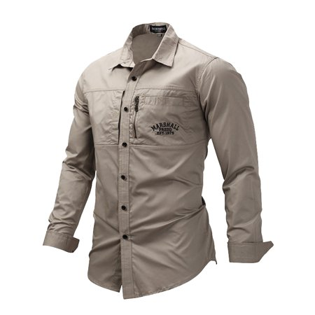 Hyamens Mens Military Casual Shirt Army Tops Long Sleeve Button (Military Button)