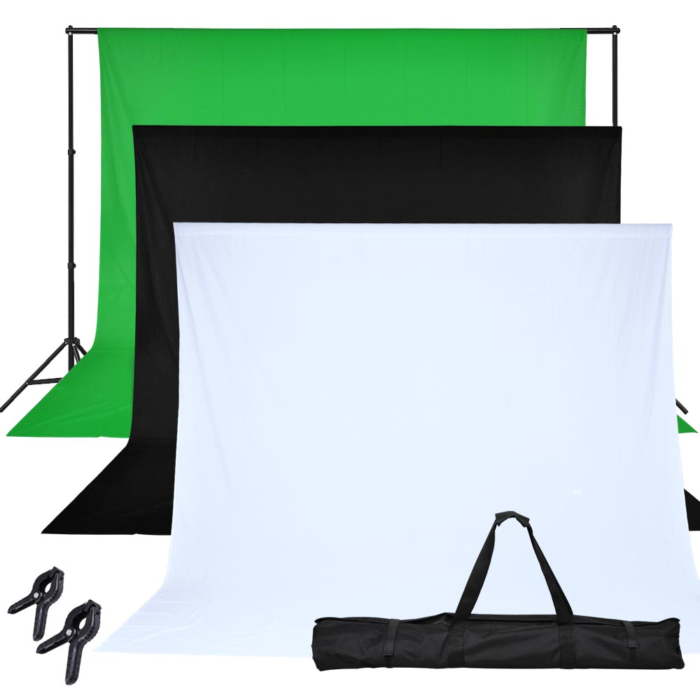 Chroma Key Green Screen with Black and White Background 10ft X 6-1/5ft Backdrop Support Stand Kit w/ Case Background