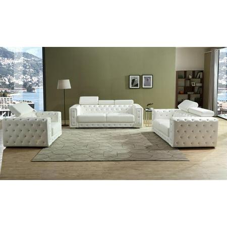 White Faux Leather Sofa Set 3Pcs Modern Cosmos Furniture Charlise