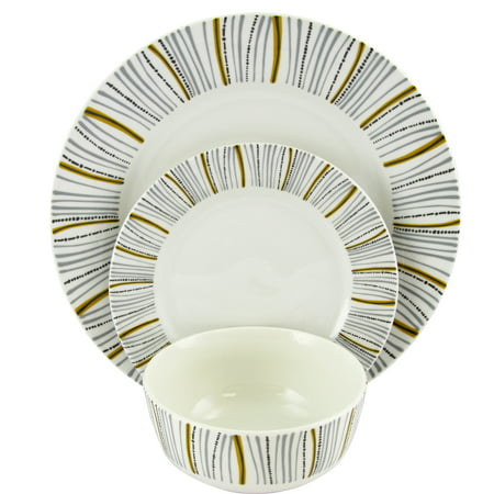Gibson Home Classic Burst Decorated12 Peice Dinnerware Set