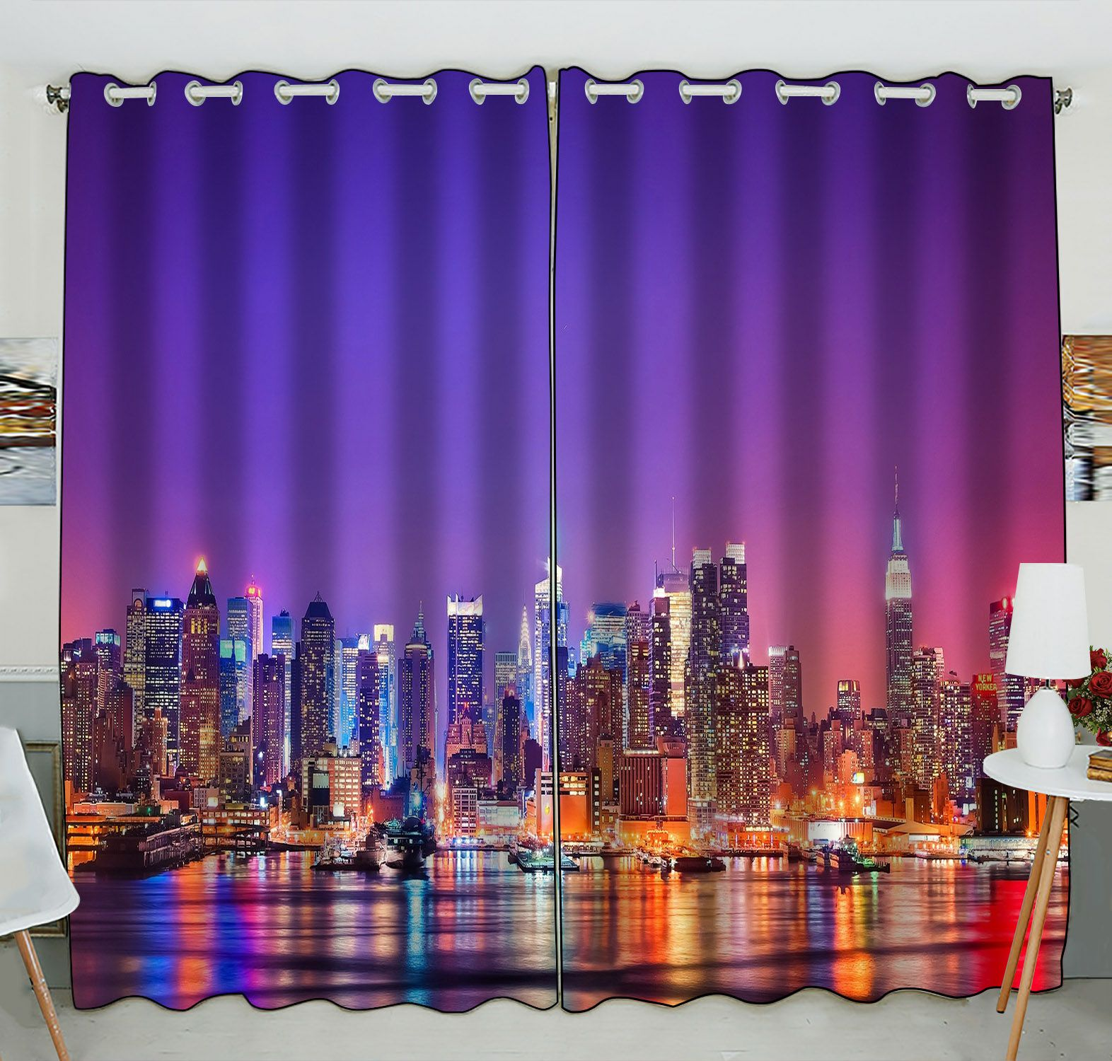 ZKGK New York City Skyline Window Curtain Drapery/Panels/Treatment For Living Room Bedroom Kids Rooms 52x84 inches Two Panel