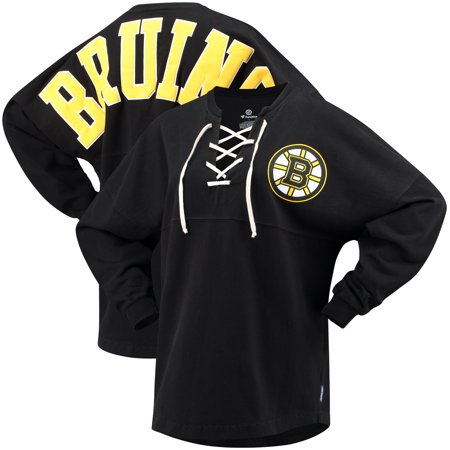Boston Bruins Fanatics Branded Women s Lace Up Long Sleeve Spirit T ... c26454871