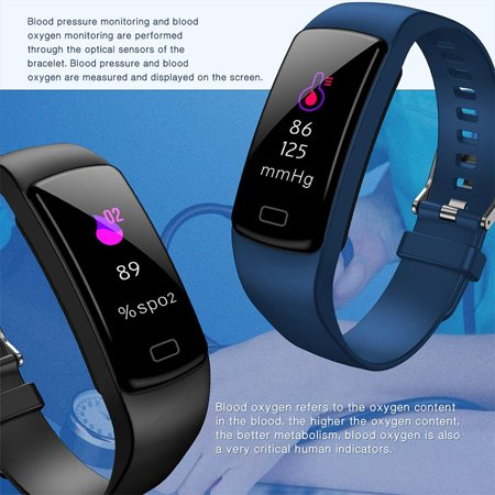 Fitness Tracker with Heart Rate Monitor Blood Pressure Smart Bracelet Color Display Sports Watch Pedometer Step Calorie for Women Men Kids - image 7 of 9