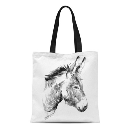 HATIART Canvas Tote Bag Brown Mule Donkey Sketch Graphics Monochrome the Head Horse Reusable Shoulder Grocery Shopping Bags Handbag - image 1 of 1