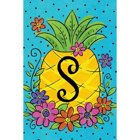 Custom Decor Garden Flag - Pineapple Flowers Monogram S