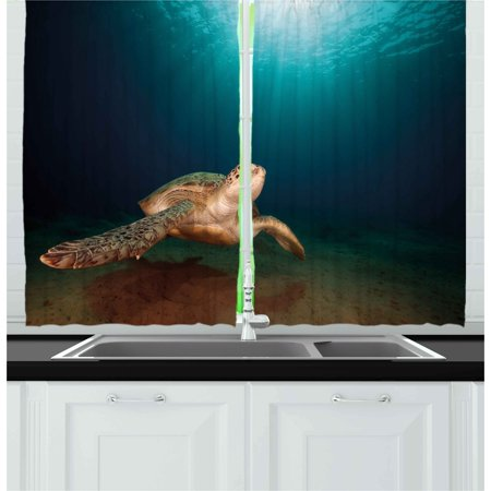 Turtle Curtains 2 Panels Set Green Turtle Swimming