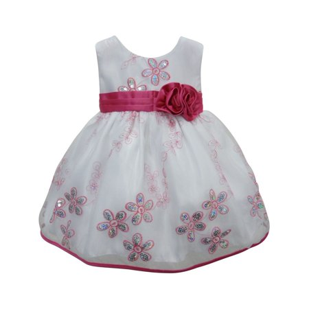 Little Girls White Fuchsia Glitter Sequin Floral Detail Flower Girl Dress 4T