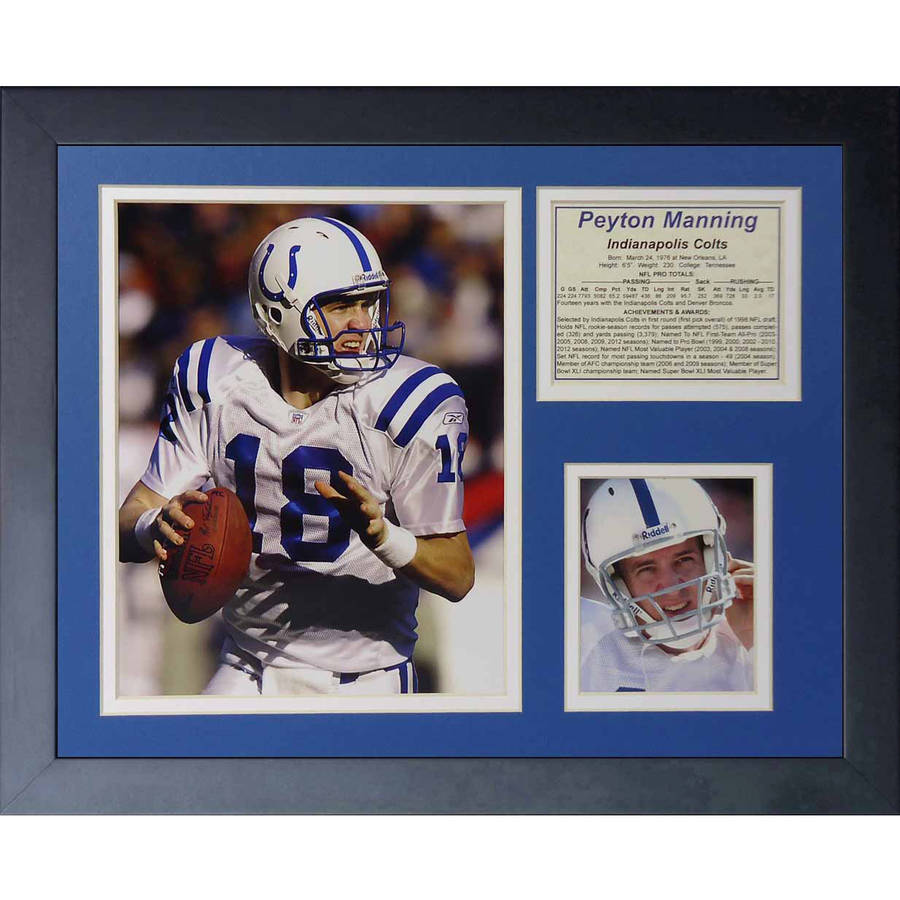 """Legends Never Die """"Peyton Manning Indianapolis Colts Away"""" Framed Photo Collage, 11"""" x 14"""""""