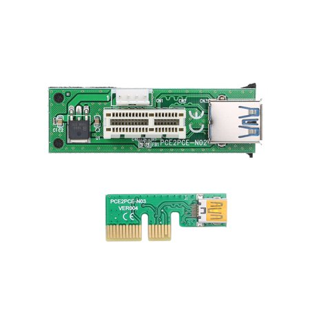 Mini PCI-E X1 Extension Cable PCIE 1X Expansion Riser Card 90°Right Angle with USB Cable and SATA Cable - image 5 of 7