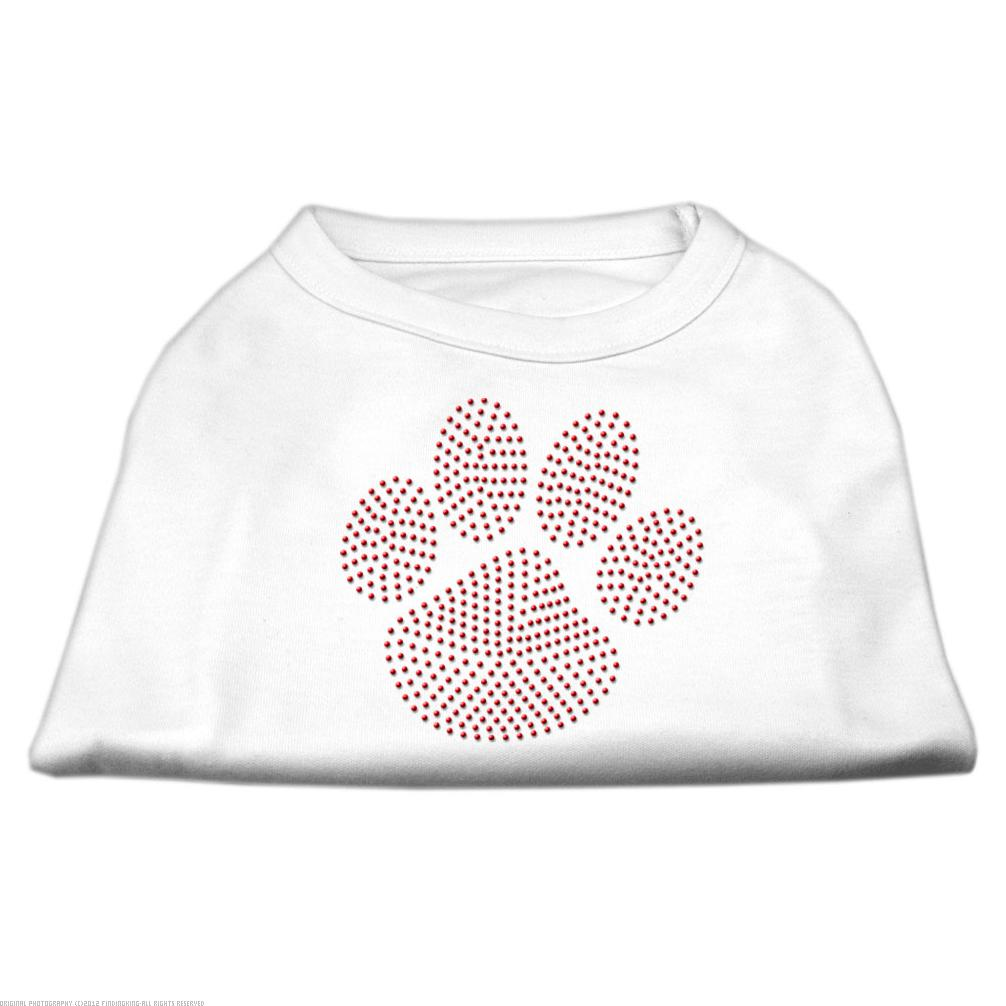 Red Paw Rhinestud Shirts White XS (8)