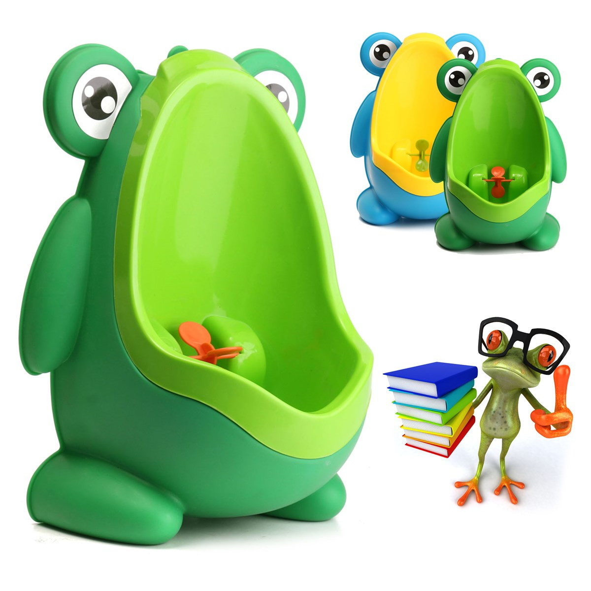 Frog Potty Training Urine Urinal Toilet for Children Kids Toddler Baby Boys Pee Trainer Aiming Target,Green color