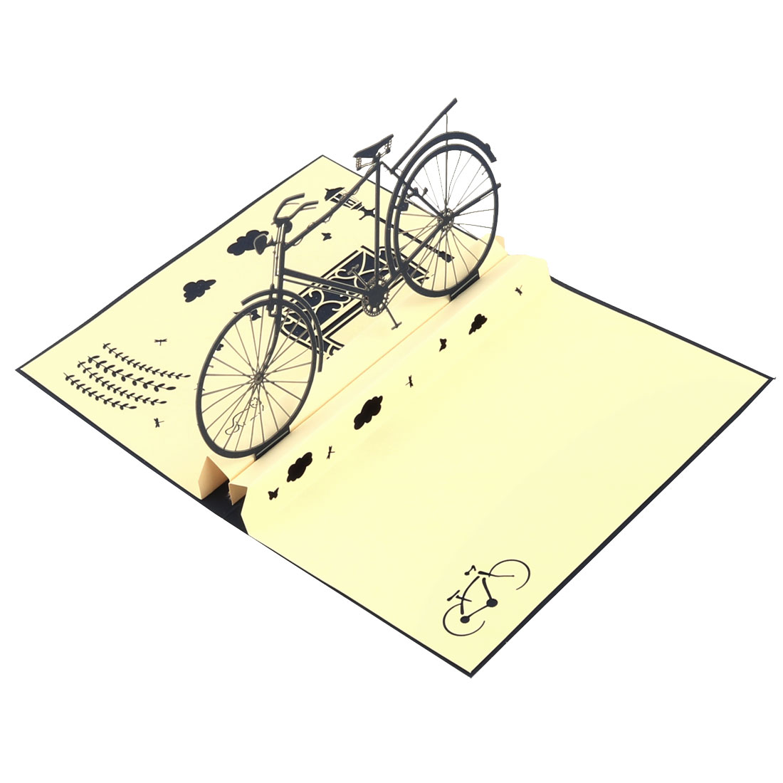Halloween Paper Bicycle Design Vintage Style 3D Invitation Greeting Card Craft
