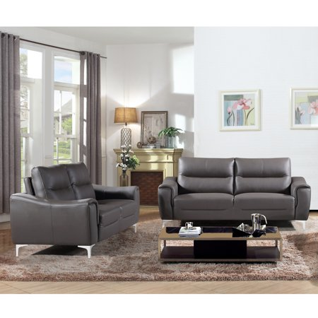 2 Piece Fabric Loveseat - Rachel Collection 2 Piece Modern Leather and Fabric Upholstered Stationary Living Room Sofa and Loveseat , Gray