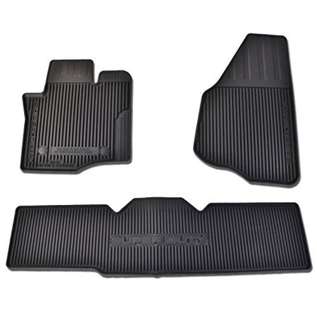 Oem Factory Stock Genuine 2013 2014 2015 Ford Super Duty F-250 F-350 F-450 F-550 Supercab Extended Cab Black Ebony Rubber All Weather Floor Mats Set 3-pc Front & Rear
