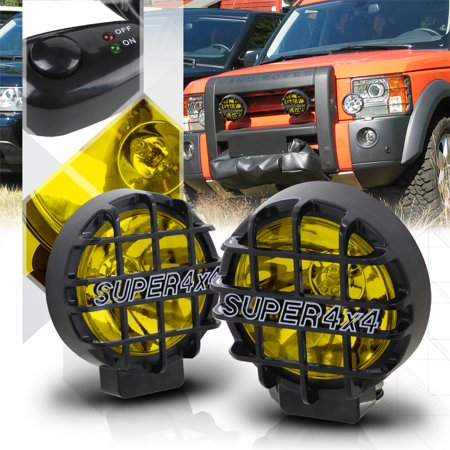 """Yellow Lens 6"""" Round Fog Light w/Black 4x4 Offroad Protective Stone Guard+Switch"""