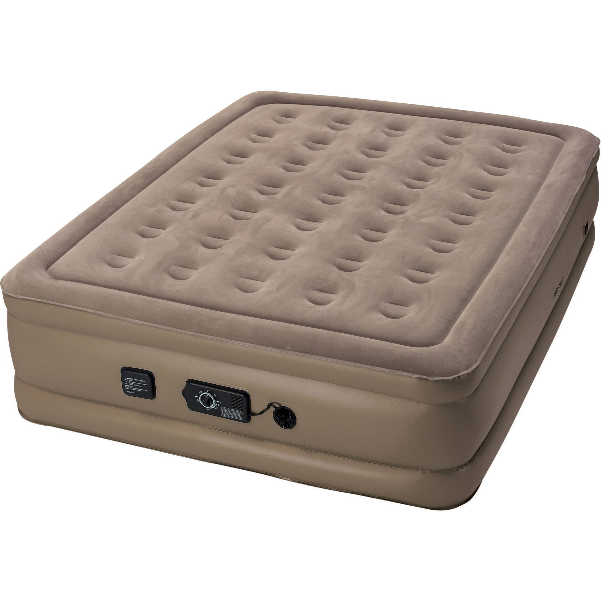 "InstaBed Full Raised 18"" Air Bed Mattress with neverFlat Air Pump 