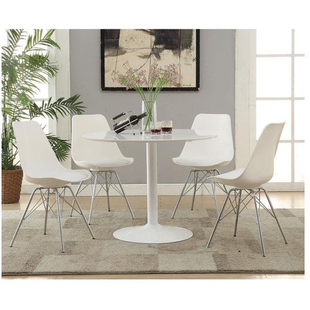 5 Piece 40 Round Dining Set With Tulip Pedestal Table And 4 White Chairs Walmart Com Walmart Com
