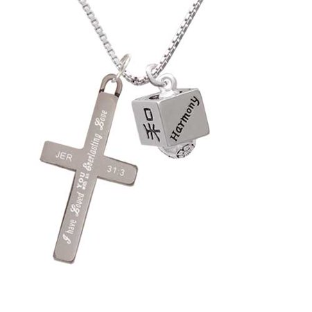 Silvertone Chinese Symbol Harmony Square Spinner - Everlasting Love - Cross Necklace