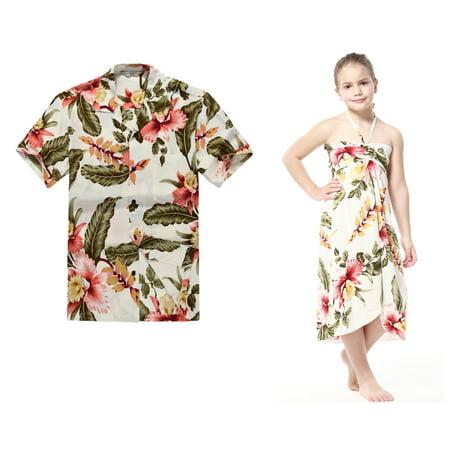 Mens Houndstooth Dress - Matching Hawaiian Luau Outfit Men Shirt Girl Dress in Cream Rafelsia Men 2XL Girl 8