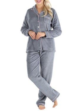 PajamaMania Women's Plush Fleece Long Sleeve 2-Piece Button-Down Pajamas