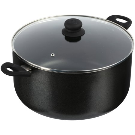 IMUSA USA 12.7 Quart Non-Stick Charcoal Stock Pot with Glass Lid