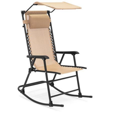 Best Choice Products Outdoor Folding Mesh Zero Gravity Rocking Chair with Attachable Sunshade Canopy and Headrest, Tan
