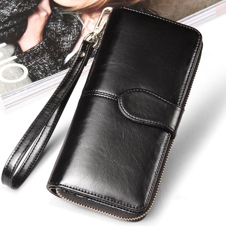 Wallet Purse With Strap (Woman Smooth PU Leather Zipper Wallet Bag Purse Portefeuille Large Capacity Card Holder Phone Bag Bill Pocket with Hand Strap For Lady Christmas New Year)