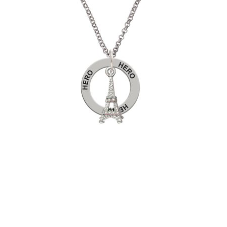 AB Crystal Eiffel Tower Little Sister Affirmation Ring Necklace