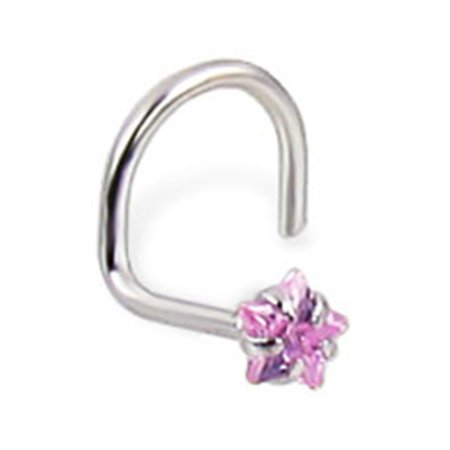 14K White Gold Nose Screw With Star-Shaped Pink Cubic Zirconia, 20 (Cubic Zirconia 20 Ga)