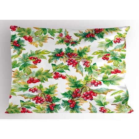 Rowan Pillow Sham Watercolor Style Branches with Rowan Berries Winter Christmas Concept, Decorative Standard Size Printed Pillowcase, 26 X 20 Inches, Scarlet Mustard Green, by Ambesonne