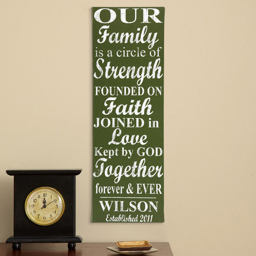 """Personalized Our Family Circle 9"""" x 27"""" Canvas"""