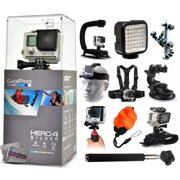 GoPro Hero 4 HERO4 Silver CHDHY-401 with Opteka X-Grip + LED Light + Flexible Tripod + Chest Harness + Headstrap + Car Suction Cup + Handgrip Stabilizer + Floaty Strap + Selfie Stick + Wrist Glove
