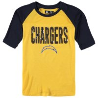 Los Angeles Chargers 5th & Ocean by New Era Girls Youth Sequin 3/4 Sleeve Raglan T-Shirt - Gold