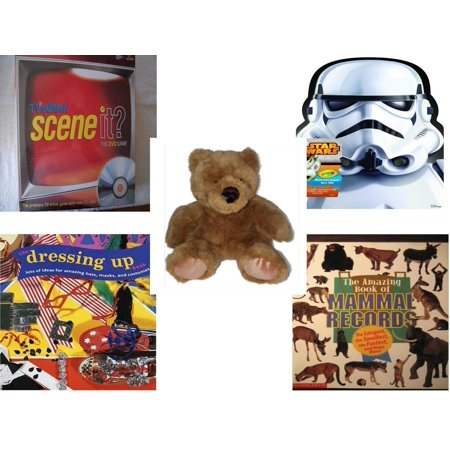 Children's Gift Bundle [5 Piece] -  Scene It TV Edition The DVD  - Crayola Storm Trooper Art Case  - Soft and Cuddly Brown Teddy Bear - The Dressing-Up Book: Lots of Ideas for Amazing Hats, Masks, a - Christmas Dressing Up Ideas