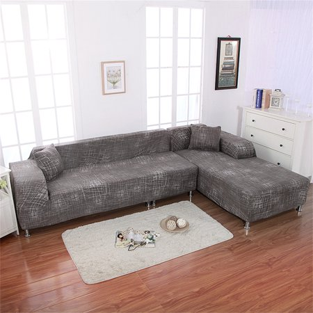 Sofa Covers for L Shape, 2pcs Polyester Fabric Stretch Slipcovers + 2pcs Pillow Covers for Sectional sofa L-shape Couch ()