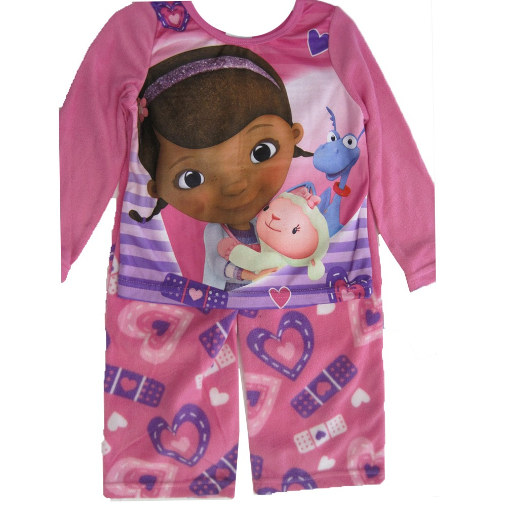 Disney Jr. Girls White Purple Doc Mcstuffins 2 Pc Pajama ...