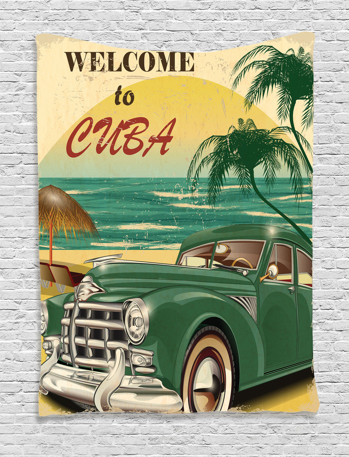 1950S Decor Wall Hanging Tapestry, Nostalgic Welcome To Cuba Artsy Print  With Classic Car Beach Ocean And Palm Trees, Bedroom Living Room Dorm