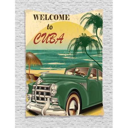 1950S Decor Wall Hanging Tapestry, Nostalgic Welcome To Cuba Artsy Print With Classic Car Beach Ocean And Palm Trees, Bedroom Living Room Dorm Accessories, By Ambesonne