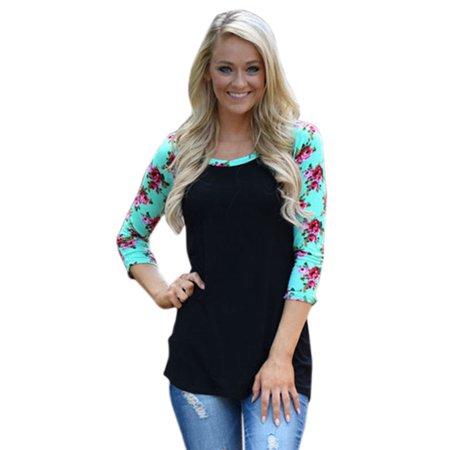 1a9498a79570f2 Boho Womens Floral Long Sleeve Shirts Casual Blouse Cotton T-Shirt Tee Tops  Plus - Walmart.com