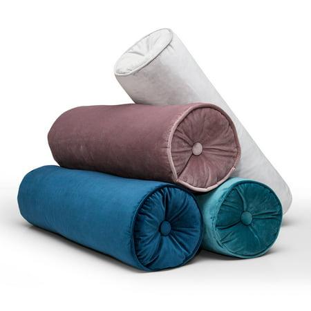 Futon Bolster Pillow - Feather Filled Solid Velvet Decorative Bolster Pillow, 8