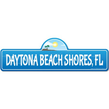 Daytona Beach Shores, FL Florida Beach Street Sign | Indoor/Outdoor | Surfer, Ocean Lover, Décor For Beach House, Garages, Living Rooms, Bedroom | Signmission Personalized Gift ()