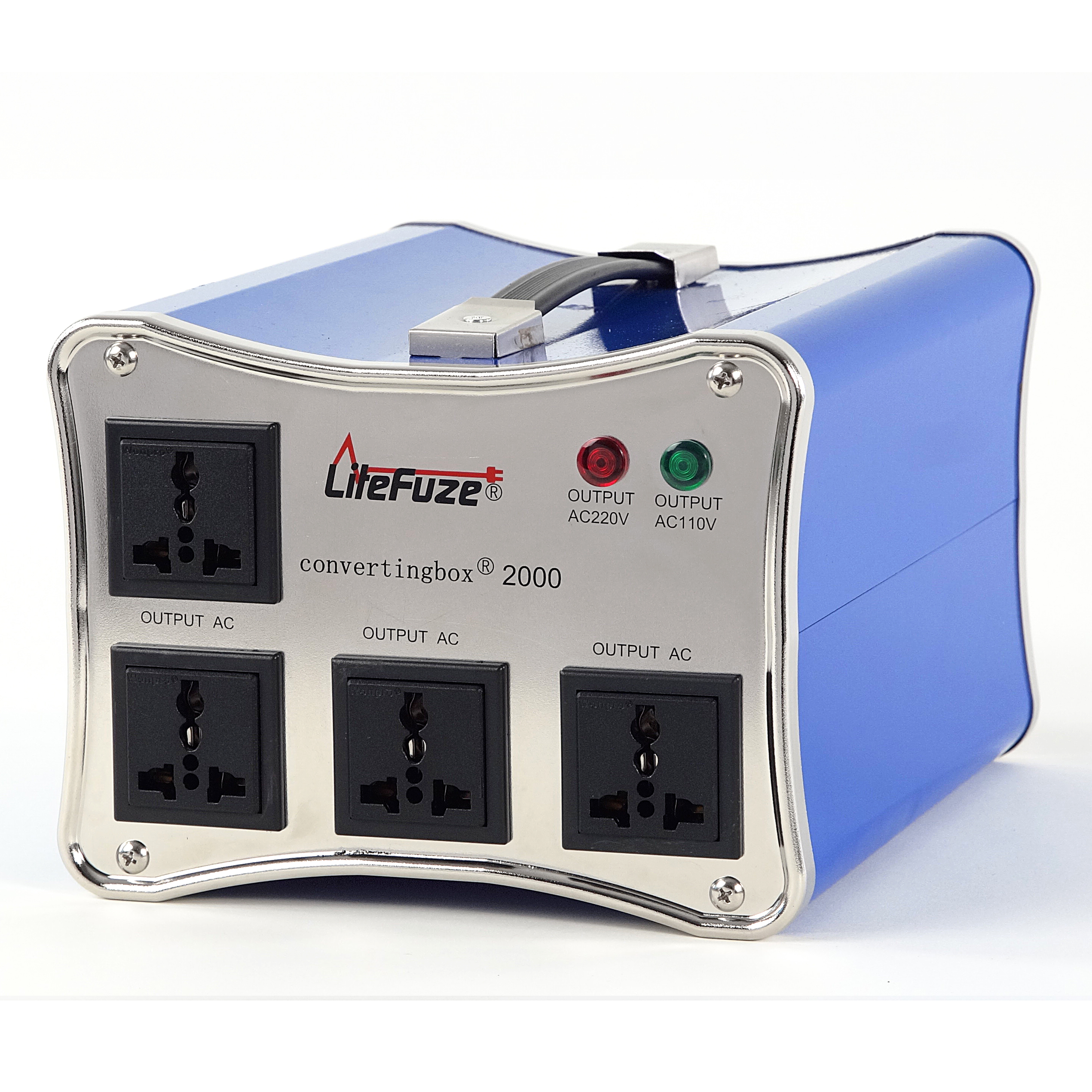 LiteFuze convertingbox 2000 Watt Auto Voltage Converter Transformer - Light Weight - Step Up/Down - Circuit Breaker - Detachable Cord